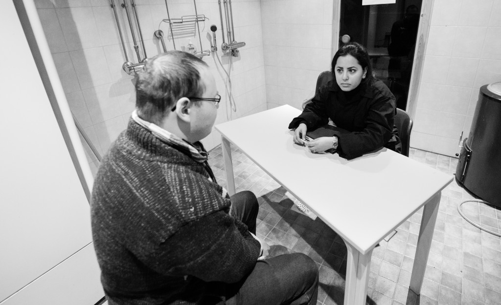 Organizer Fatima AbdulKarim playing an interrogator in the 2013 Halat hisar. Photo: Tuomas Puikkonen